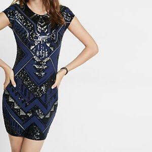 Express Short Sleeve Sequin Sheath Dress
